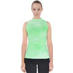 Mint Watercolor Mock Neck Shell Top