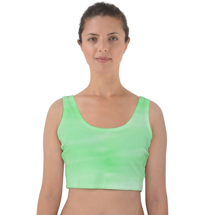 Mint Watercolor Velvet Crop Top