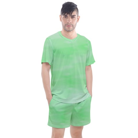 Mint Watercolor Men s Mesh Tee And Shorts Set by retrotoomoderndesigns