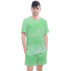 Mint Watercolor Men s Mesh Tee and Shorts Set