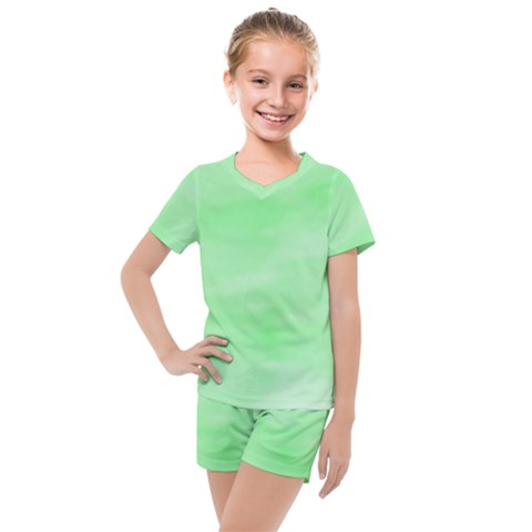 Mint Watercolor Kids  Mesh Tee And Shorts Set by retrotoomoderndesigns