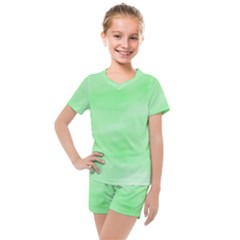 Mint Watercolor Kids  Mesh Tee And Shorts Set