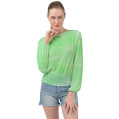 Mint Watercolor Banded Bottom Chiffon Top