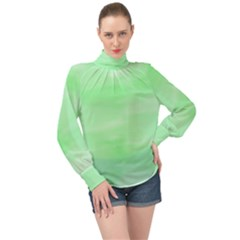 Mint Watercolor High Neck Long Sleeve Chiffon Top