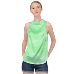 Mint Watercolor High Neck Satin Top