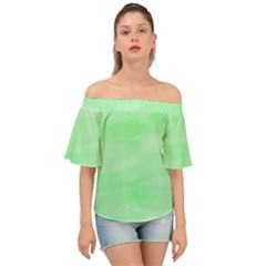 Mint Watercolor Off Shoulder Short Sleeve Top by retrotoomoderndesigns