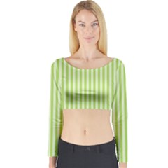 Lime Stripes Long Sleeve Crop Top by retrotoomoderndesigns