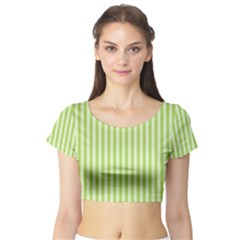 Lime Stripes Short Sleeve Crop Top by retrotoomoderndesigns