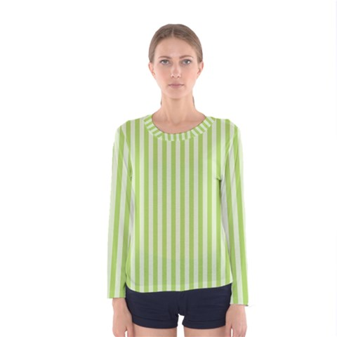 Lime Stripes Women s Long Sleeve Tee by retrotoomoderndesigns