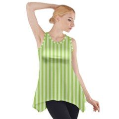 Lime Stripes Side Drop Tank Tunic by retrotoomoderndesigns