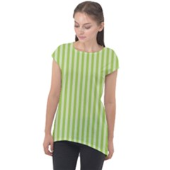 Lime Stripes Cap Sleeve High Low Top by retrotoomoderndesigns