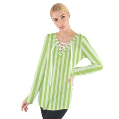 Lime Stripes Tie Up Tee by retrotoomoderndesigns