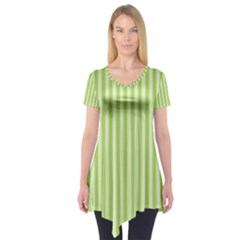 Lime Stripes Short Sleeve Tunic  by retrotoomoderndesigns