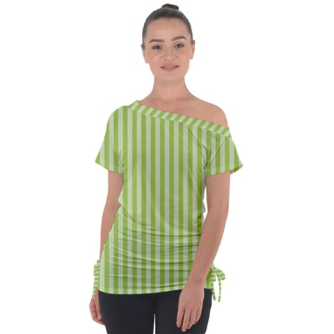 Lime Stripes Tie-up Tee by retrotoomoderndesigns