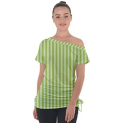 Lime Stripes Tie Up Tee