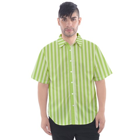 Lime Stripes Men s Short Sleeve Shirt by retrotoomoderndesigns