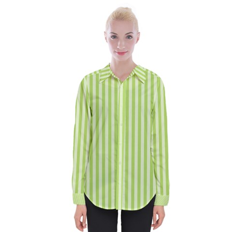 Lime Stripes Womens Long Sleeve Shirt by retrotoomoderndesigns