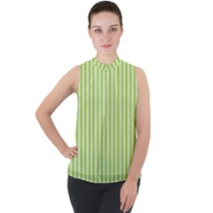Lime Stripes Mock Neck Chiffon Sleeveless Top