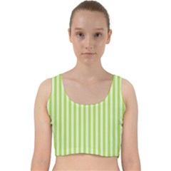 Lime Stripes Velvet Racer Back Crop Top