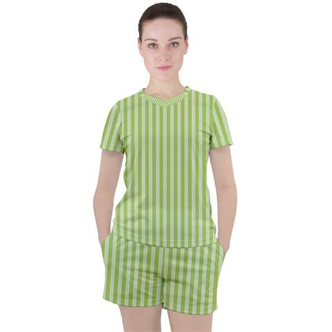 Lime Stripes Women s Tee And Shorts Set by retrotoomoderndesigns