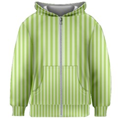 Lime Stripes Kids  Zipper Hoodie Without Drawstring by retrotoomoderndesigns