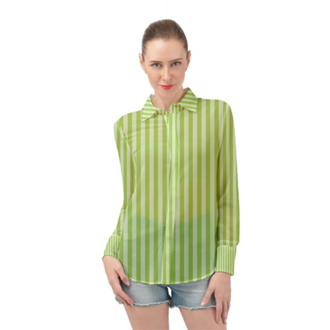 Lime Stripes Long Sleeve Chiffon Shirt by retrotoomoderndesigns