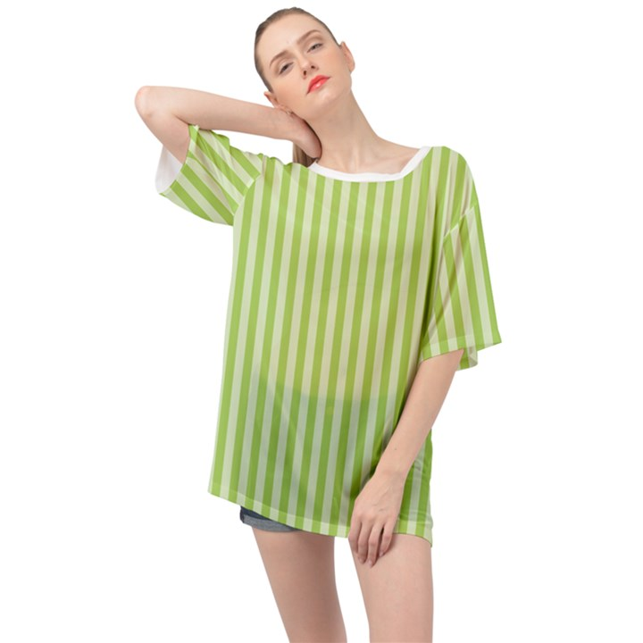 Lime Stripes Oversized Chiffon Top