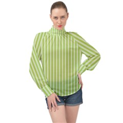 Lime Stripes High Neck Long Sleeve Chiffon Top by retrotoomoderndesigns