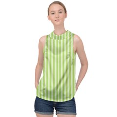 Lime Stripes High Neck Satin Top by retrotoomoderndesigns