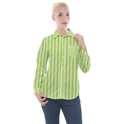 Lime Stripes Women s Long Sleeve Pocket Shirt by retrotoomoderndesigns