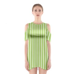 Lime Stripes Shoulder Cutout One Piece Dress by retrotoomoderndesigns