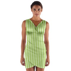 Lime Stripes Wrap Front Bodycon Dress by retrotoomoderndesigns