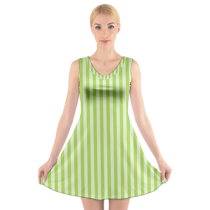 Lime Stripes V-Neck Sleeveless Dress