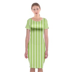 Lime Stripes Classic Short Sleeve Midi Dress by retrotoomoderndesigns