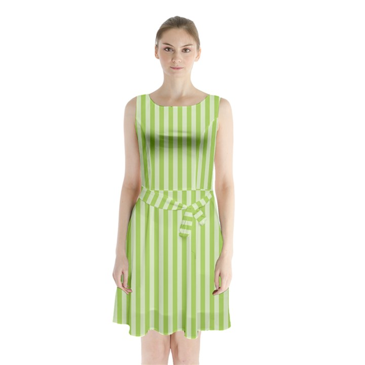 Lime Stripes Sleeveless Waist Tie Chiffon Dress