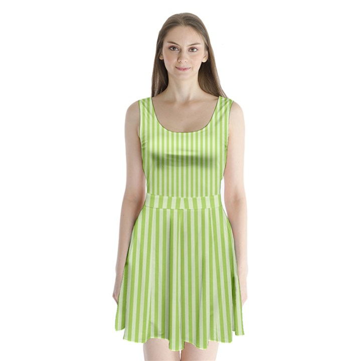 Lime Stripes Split Back Mini Dress