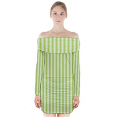 Lime Stripes Long Sleeve Off Shoulder Dress by retrotoomoderndesigns