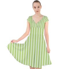 Lime Stripes Cap Sleeve Front Wrap Midi Dress by retrotoomoderndesigns