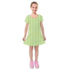 Lime Stripes Kids  Short Sleeve Velvet Dress by retrotoomoderndesigns