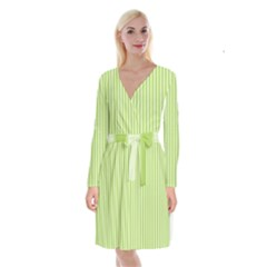 Lime Stripes Long Sleeve Velvet Front Wrap Dress by retrotoomoderndesigns
