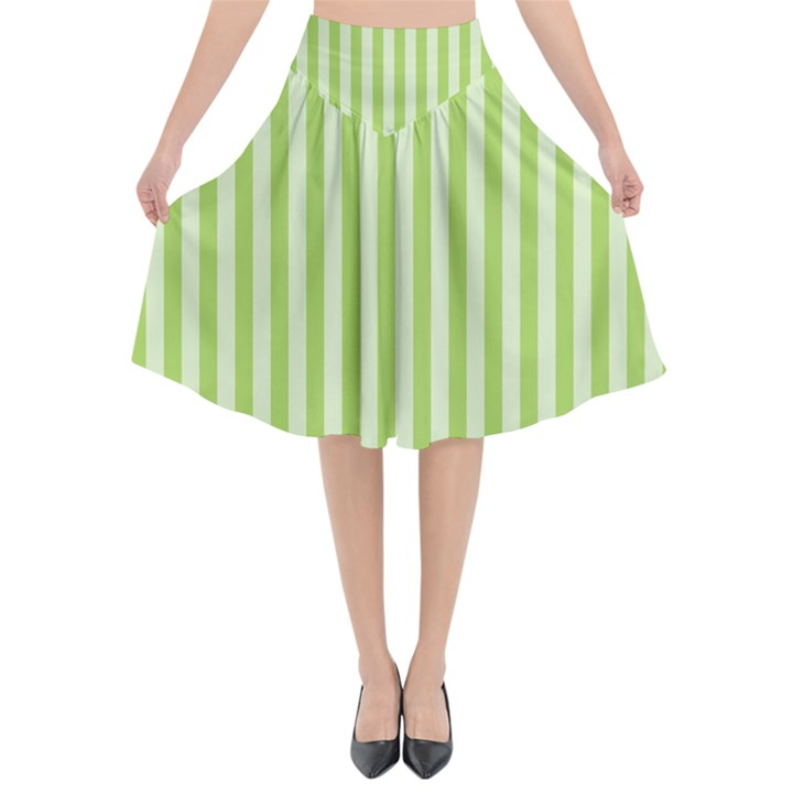 Lime Stripes Flared Midi Skirt