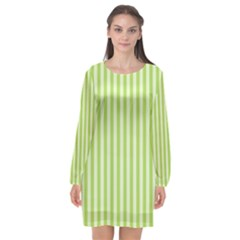 Lime Stripes Long Sleeve Chiffon Shift Dress