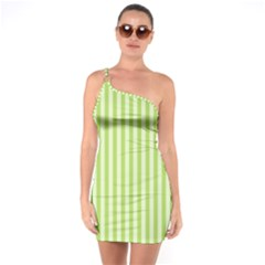 Lime Stripes One Soulder Bodycon Dress by retrotoomoderndesigns