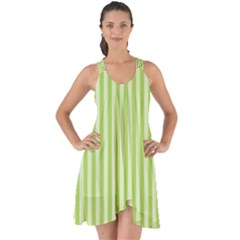 Lime Stripes Show Some Back Chiffon Dress