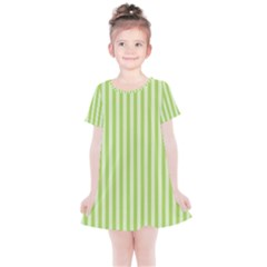 Lime Stripes Kids  Simple Cotton Dress by retrotoomoderndesigns