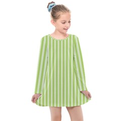 Lime Stripes Kids  Long Sleeve Dress by retrotoomoderndesigns