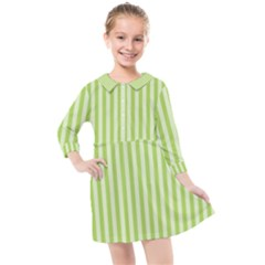 Lime Stripes Kids  Quarter Sleeve Shirt Dress by retrotoomoderndesigns