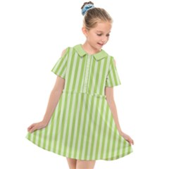 Lime Stripes Kids  Short Sleeve Shirt Dress by retrotoomoderndesigns