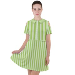 Lime Stripes Short Sleeve Shoulder Cut Out Dress