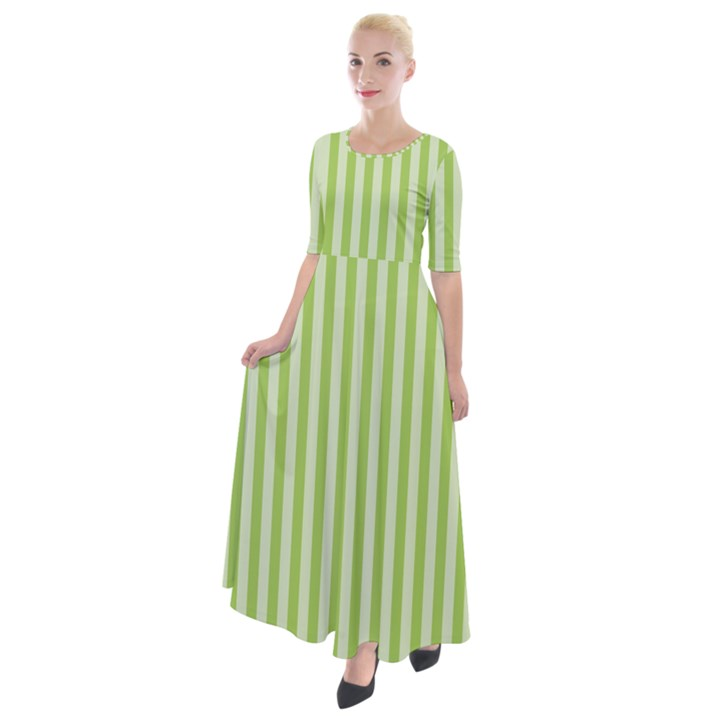 Lime Stripes Half Sleeves Maxi Dress